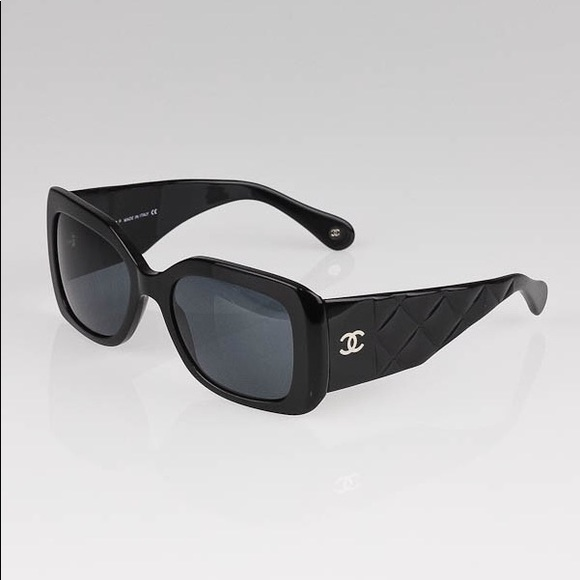 Chanel Accessories Authentic Black Cc Logo Quilted Sunglasses